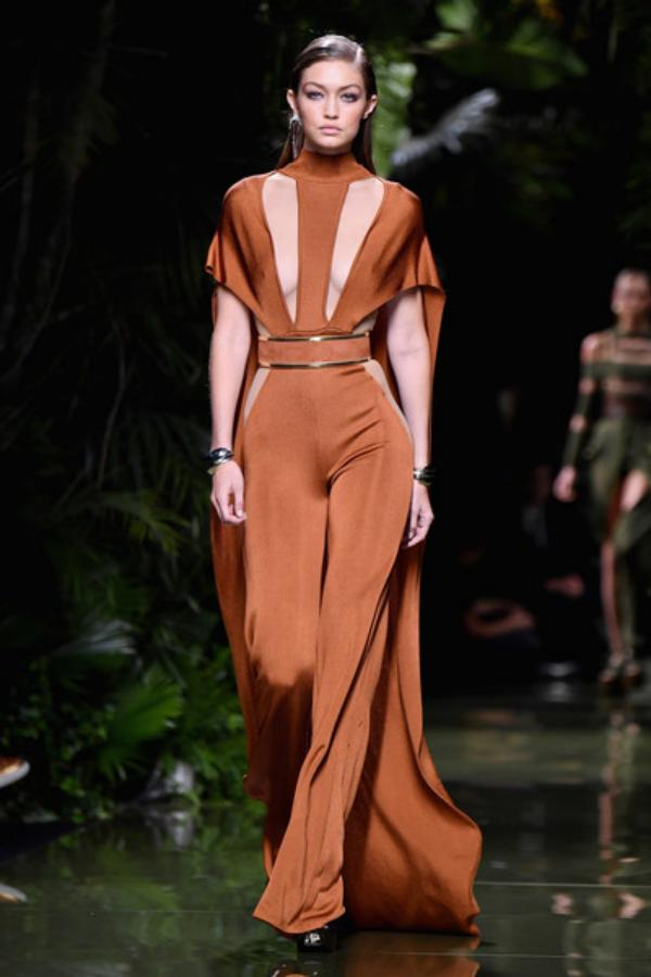 Gigi Hadid walks the runway during the Balmain show PFW