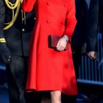 Duchess Looked in red CH-Carolina Herrera double breasted coat
