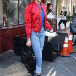 Karlie Kloss Rocks Red Bomber