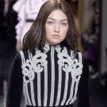 Gigi Hadid rocked brunette hair for Balmain