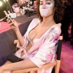 Alanna Arrington Backstage at Victoria's Secret Fashion Show 2017