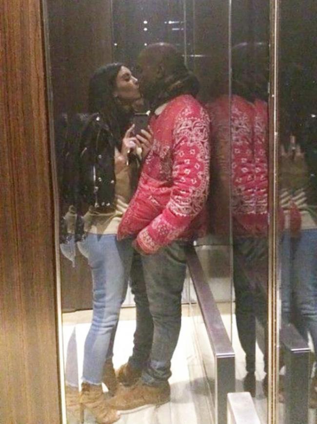 Kim Kardashian & Kanye West Kissing In Elevator Selfies