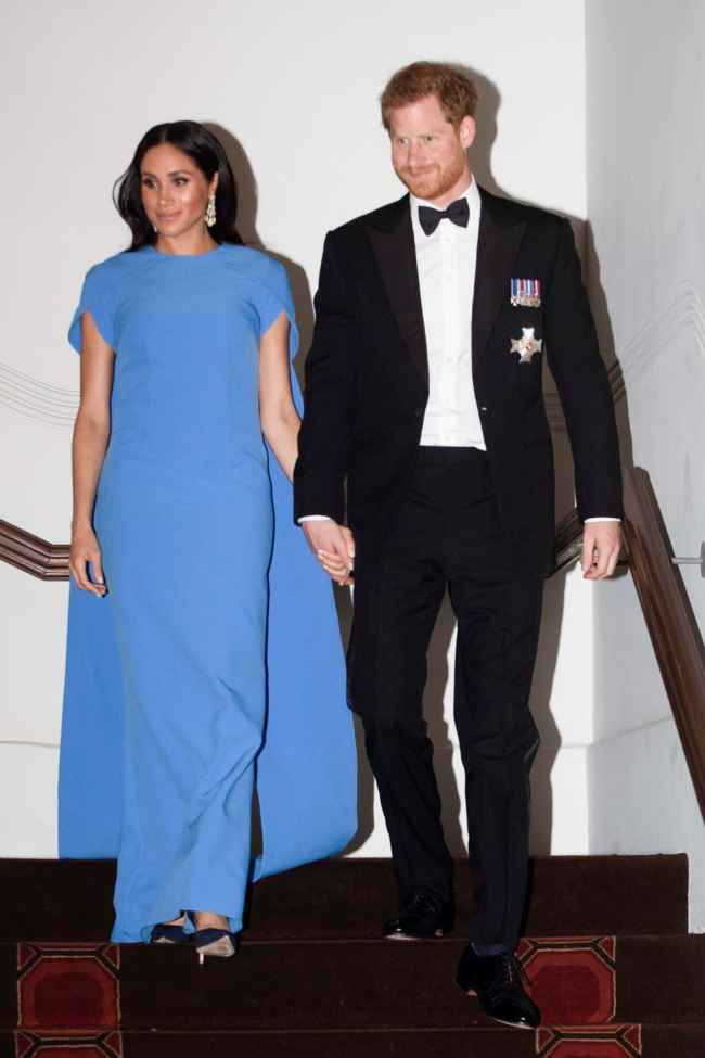 Meghan's Fiji-Blue Cape dress for Iconic Royal Styles